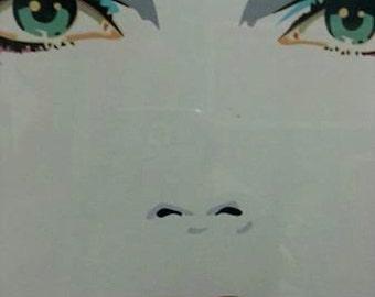 "DENNIS MUKAI, Dennis Mukai Serigraph ""Jennifer"" Triple Mat Black Frame Plexiglass LARGE 1980s"