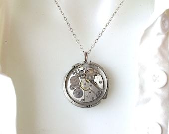 REDUCED PRICE Steampunk Vintage Reversible Clock Movement Necklace Silver Chain USSR Clockpunk Womens Accessory