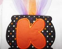 Witch Cauldron Alphabet Applique Design 3 sizes INSTANT DOWNLOAD