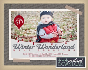Winter Wonderland Holiday Mini Session Photography Template - Christmas Winter Digital Marketing Board Flyer