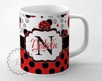 Monogrammed Coffee mug -  Ladybugs and Black dots Cute layout  with name/Monogram coffee cup,customized office gift  + FREE COASTER - 238