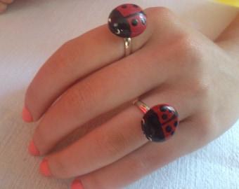 LADYBUG  RINGS ,Handpainted pebble, rock art, garden lovers, painted beach stone, Handmade jewelry Ring, Free Shipping!!!