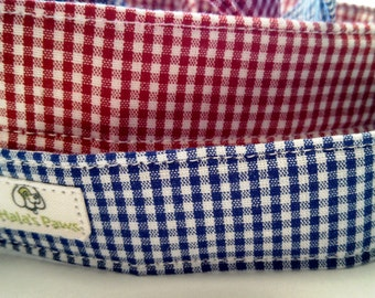 Red or Blue Gingham- Dog Collar
