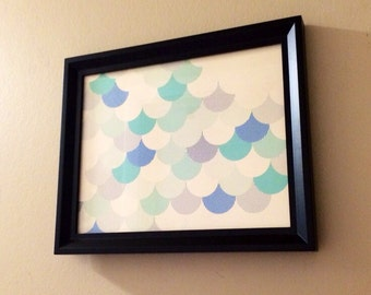 Framed Wall Art In Blues With Black Frame