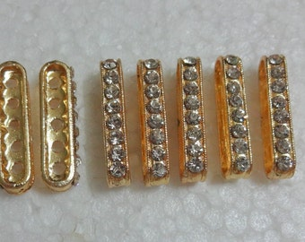 Golden - 5-Strand Bead Separator / Bars with Crystals - 10 Count