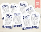 INSTANT DOWNLOAD: Printable Bridal Shower Milestone Wine Tags with Poems for Wedding Gift Basket - Set of 8 in Navy Lace (Non-Personalized)