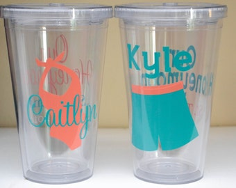 Newlywed Honeymoon Personalized Tumblers His and Hers