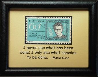 Maria Sklodowska Curie 1867-1934 -Handmade Framed Postage Stamp Art 0431W