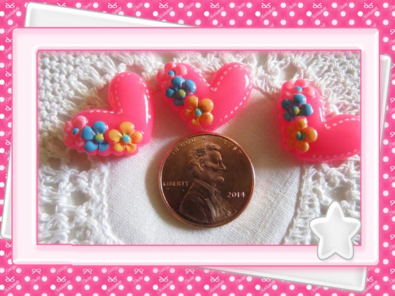 0: )- CABOCHON -(Hot Pink Flower Hearts