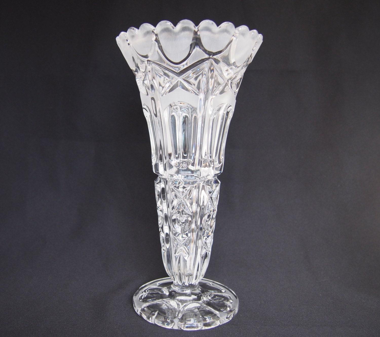 Bleikristall Glass Crystal Vase Vintage Tall Crystal Flowers