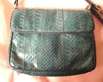 Genuine Snakeskin Green Shoulder bag