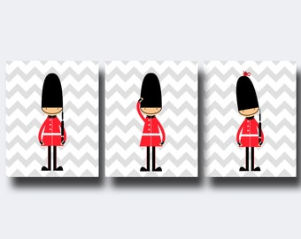 Toy Soldiers Nursery Wall Print, English Guards Nursery Print, Baby Boy Nursery Wall Art Print and Bedroom Decor N292,293.294-Unframed
