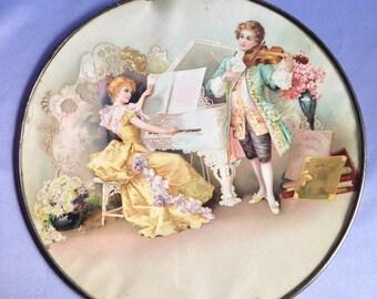 VINTAGE Old Large Victorian Scene FLUE COVER