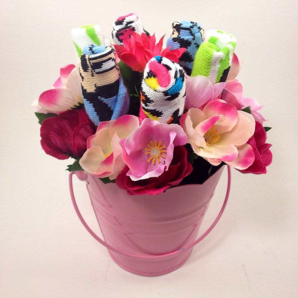Minnie baby sock bouquet Baby t basket by