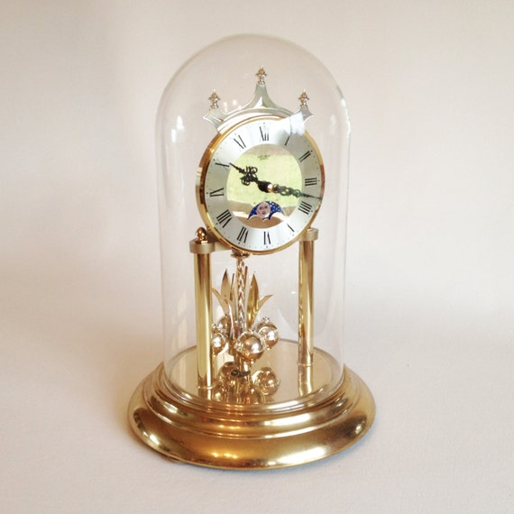 Clock Vintage Glass Domed Verichron Quartz Rotating Pendulum