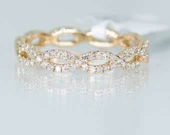 14k Rose Gold Diamond Infinity Eternity Cross Eternity Ring Band
