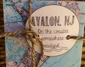 Avalon New Jersey Vintage Map Stone Coaster Set - Free Shipping!