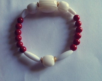 Fashionable and Chic, Stretch, Red,  Beaded Bracelet