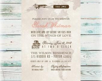 Travel Bridal Shower Invitation - DIY Digital File