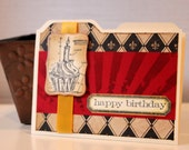 Happy Birthday Card Cupcake Architecture For Him, Limited Edition, File Folder Card, Masculine Birthday, Steampunk by MrsKristenCreations