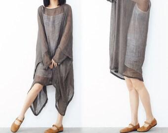 199---Linen Dress Oversized Gray Loose Tunic Dress