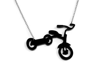 Tricycle Kids Bicycle Black Pendant Necklace. SoCal Urban neighborhood Tricycle Bike, Trike.