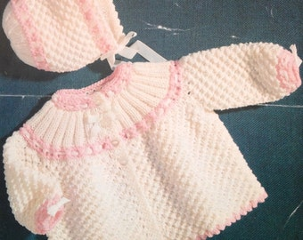 """vintage baby knitting pattern for  dk double knit matinee coat and bonnet set 18-19""""s PDF"""