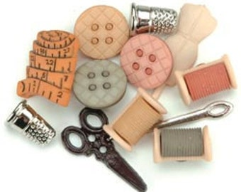 Sewing Room Button Embellishments (12 pieces)