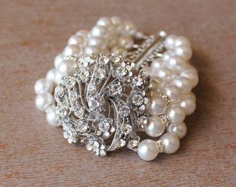 Ivory Pearl Bridal Cuff, Pearl & Crystal Bridal Bracelet,  Bridal Jewelry, Bridesmaids jewelry, KITTY