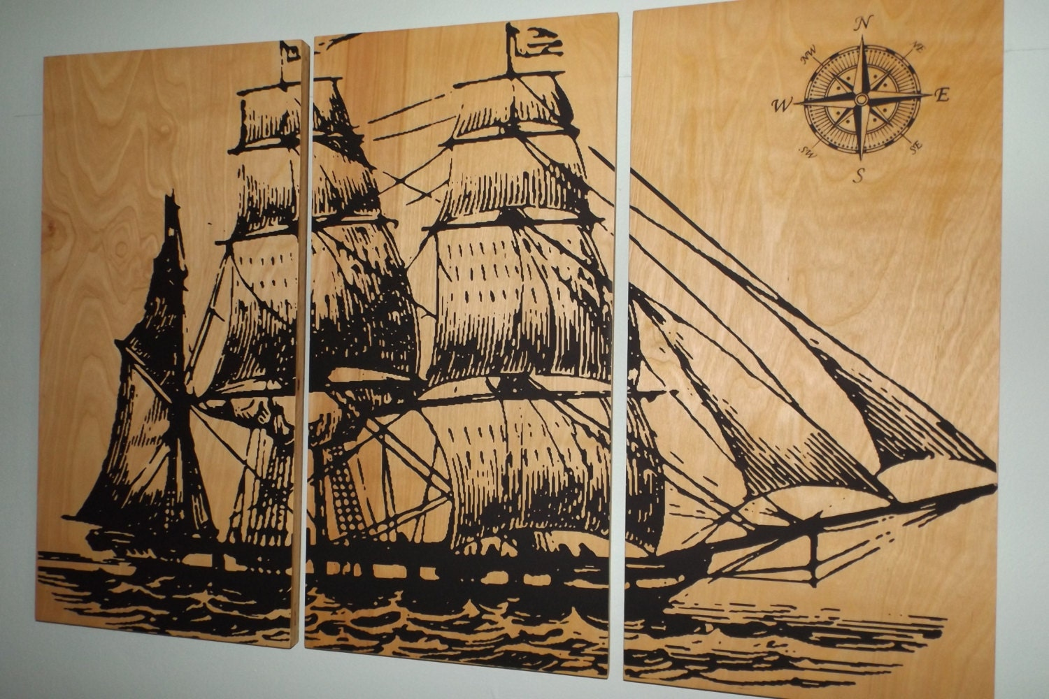Wall Hangings For Bedrooms Vintage Pirate Ship Sailboat Screen Print Wood Painting