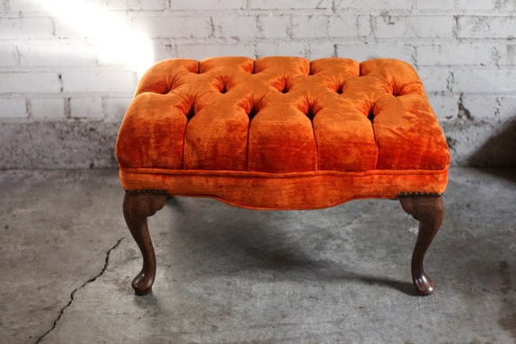 Vintage Tufted Orange Velvet Ottoman By Thefeelingofhome