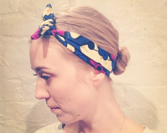 Headband 100% Cotton African Print in Purple and Blue Flower. Styles 40's 50s 60s 70s and much more
