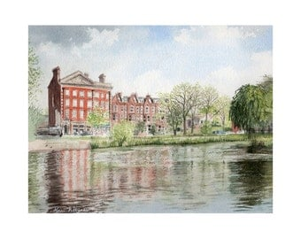 London, Barnes Pond in the Spring - Limited Edition Fine Art Giclee Print. UK