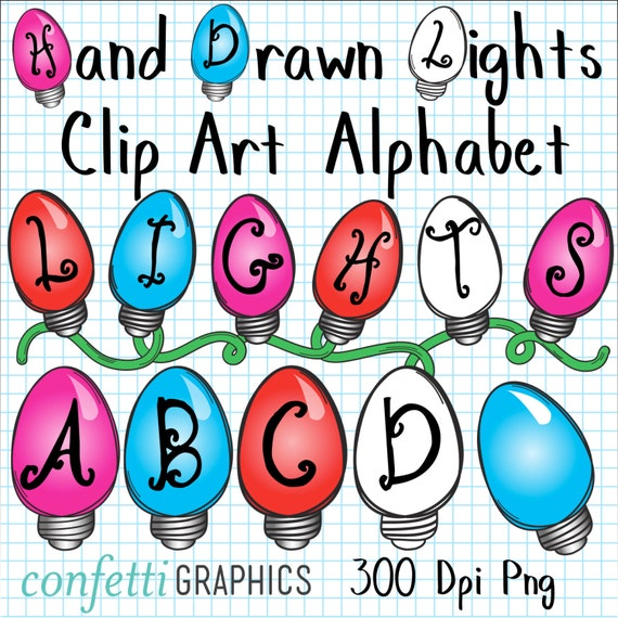 Hand drawn holiday lights clip art alphabet upper case letters