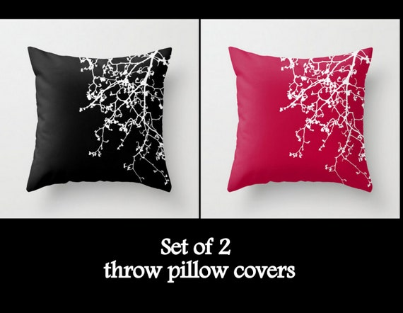 red and black and white throw pillow covers cases case cover