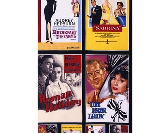 Radio Days from Hollywood Icons Movie Posters Fabric Audrey Hepburn by Robert Kaufman by the Panel