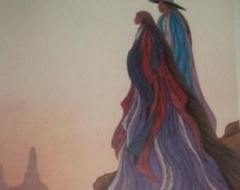 1987 SIGNED Bill Rabbit Spirit Lives Cherokee Indian Framed Poster Print