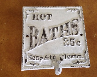 Hot baths towel hook, shabby chic, white