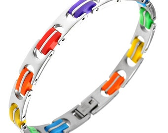 Gay Pride Bracelet Rainbow Colored Bracelet Stainless Steel Gay Pride Jewelry for Men Women Teens Gifts for Any Occasion
