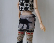 MOMOKO patterned skirt legging with sleeveless top set by Jing's Crafts