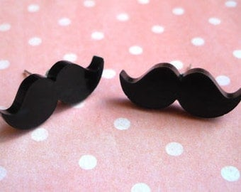 Black Mini Moustache Stud Earrings, Mustache, Quirky, Movember, Cute, Geek