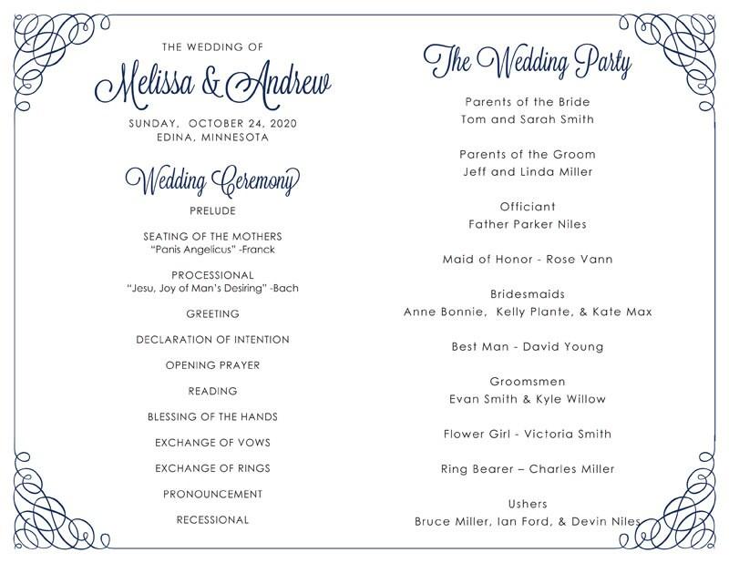 Wedding Program Template C Calligraphy Corners Navy Instant Download