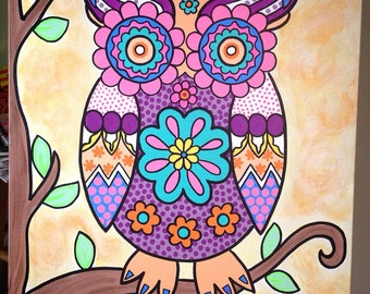 Hand painted owl canvas art 22x28