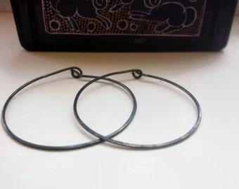 "Oxidized Silver Hoop Earrings, Large sterling silver oxidized hoop earrings. 2"" wide hoop earrings."
