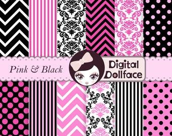 Pink and Black Digital Paper, Chevron, Damask, Stripe, Polka Dot Digital Paper