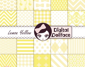 Yellow Digital Paper Pack, Yellow Scrapbook Paper,12x12 printable patterns