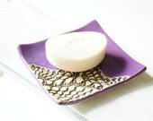 Soap Dish, Purple Violet Ceramic Soap Dish, Ceramic Bathroom Decor, Ceramics and Pottery, Lace Decor, Violet Soap Dish