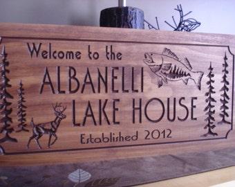 Personalized Wood Signs, Lake House Sign,  Large Mouth Bass Fish,  Rustic Lake House Decor, Wooden Sign, Carved Wood Signs, FREE SHIPPING