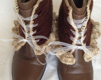Crochet ruffle spats, brown lace up spats, lace up boot covers, victorian spats, women's spats