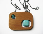 floating turquoise in wood windows